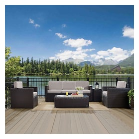 Aldo Outdoor Sofa, 2 Chairs, Coffee Table, and End Table Set