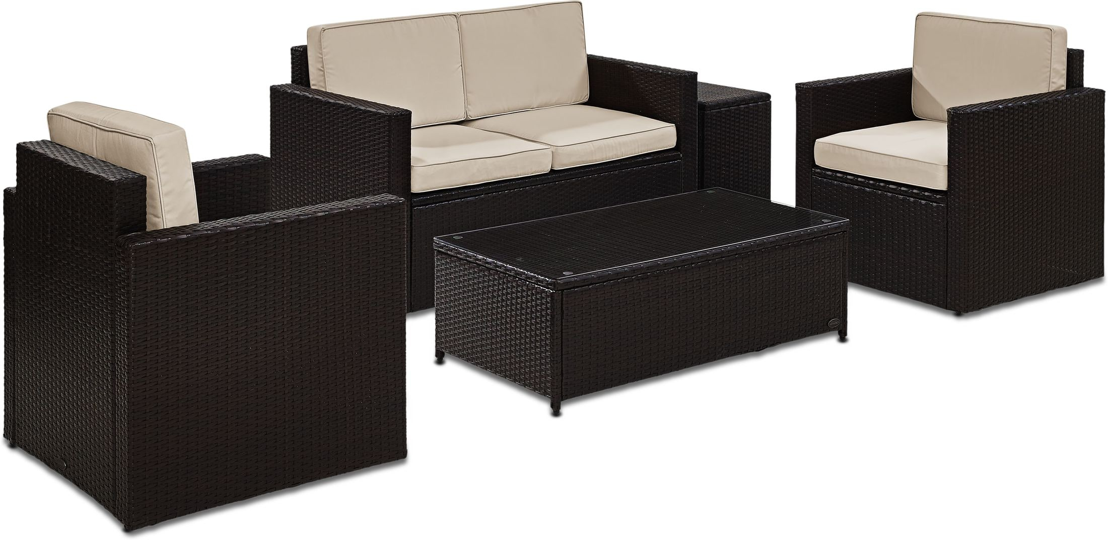 Outdoor Furniture - Aldo Outdoor Loveseat, 2 Chairs, Coffee Table, and End Table Set