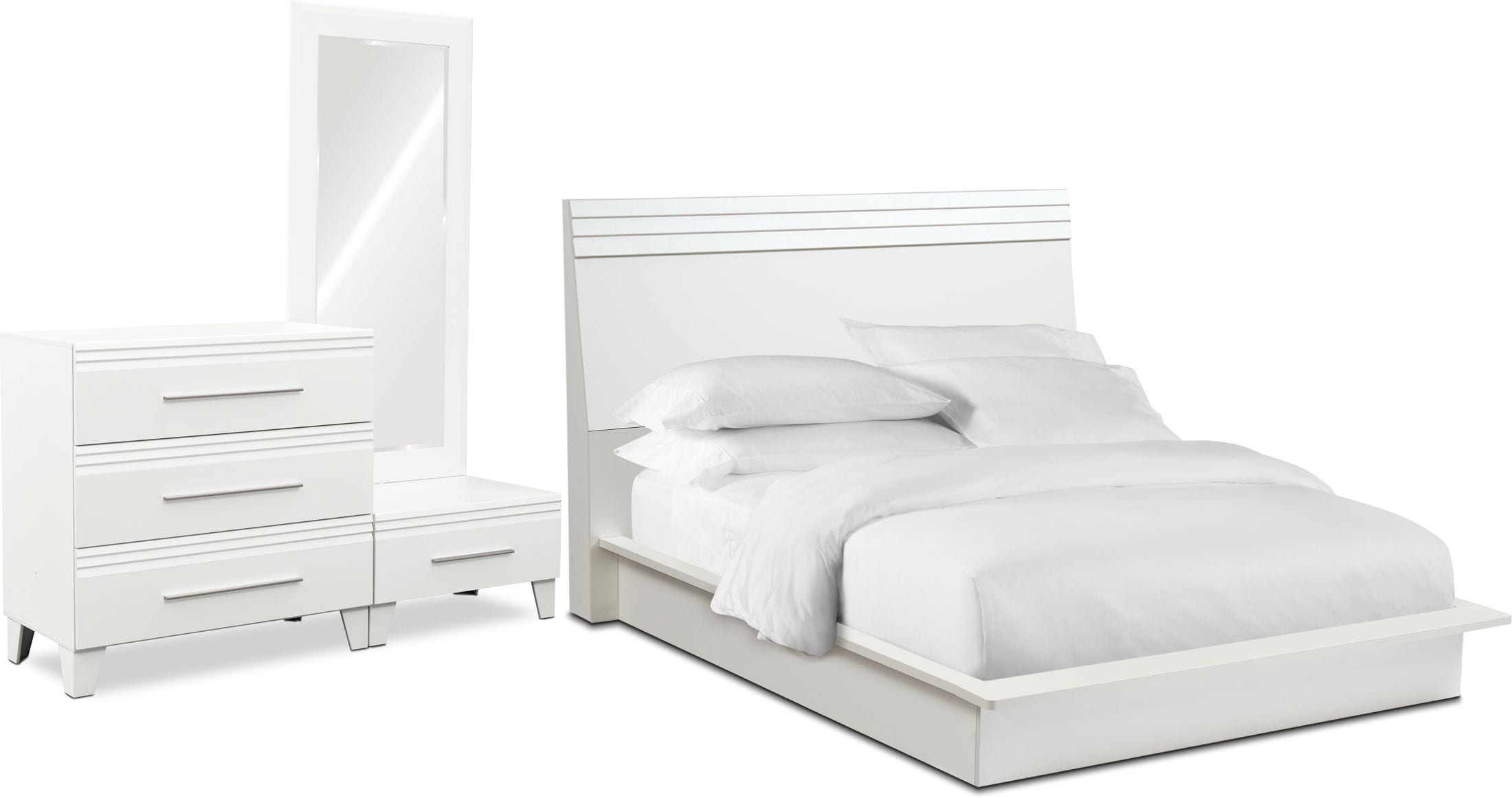 Bedroom Furniture - Allori 5-Piece Panel Bedroom Set with Chest and Dressing Mirror