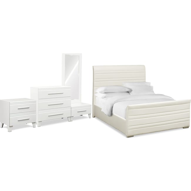Bedroom Furniture - Allori 6-Piece Upholstered Bedroom Set with Nightstand, Chest and Dressing Mirror