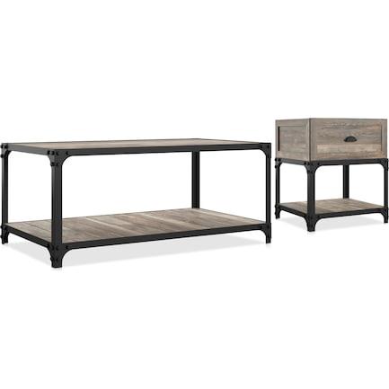 Aluma Coffee and End Table Set - Oak