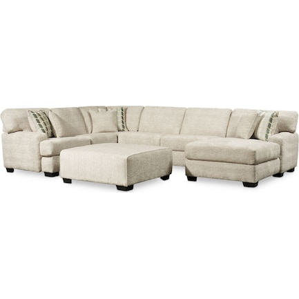 Andi 3-Piece Sectional with Right-Facing Chaise and Ottoman - Sand