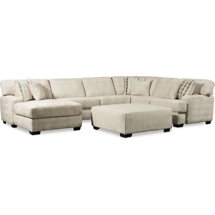 Andi 3-Piece Sectional with Left-Facing Chaise and Ottoman - Sand