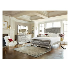 Angelina 5-Piece Upholstered Bedroom Set with Dresser and Mirror