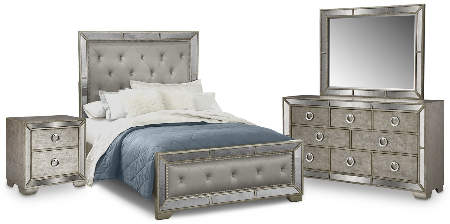 Angelina 10-Piece Upholstered Bedroom Set with Nightstand, Dresser and Mirror