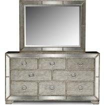 angelina silver dresser & mirror