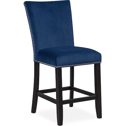 Artemis Counter-Height Upholstered Stool - Blue
