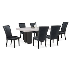 Artemis Marble Dining Table and 6 Upholstered Dining Chairs