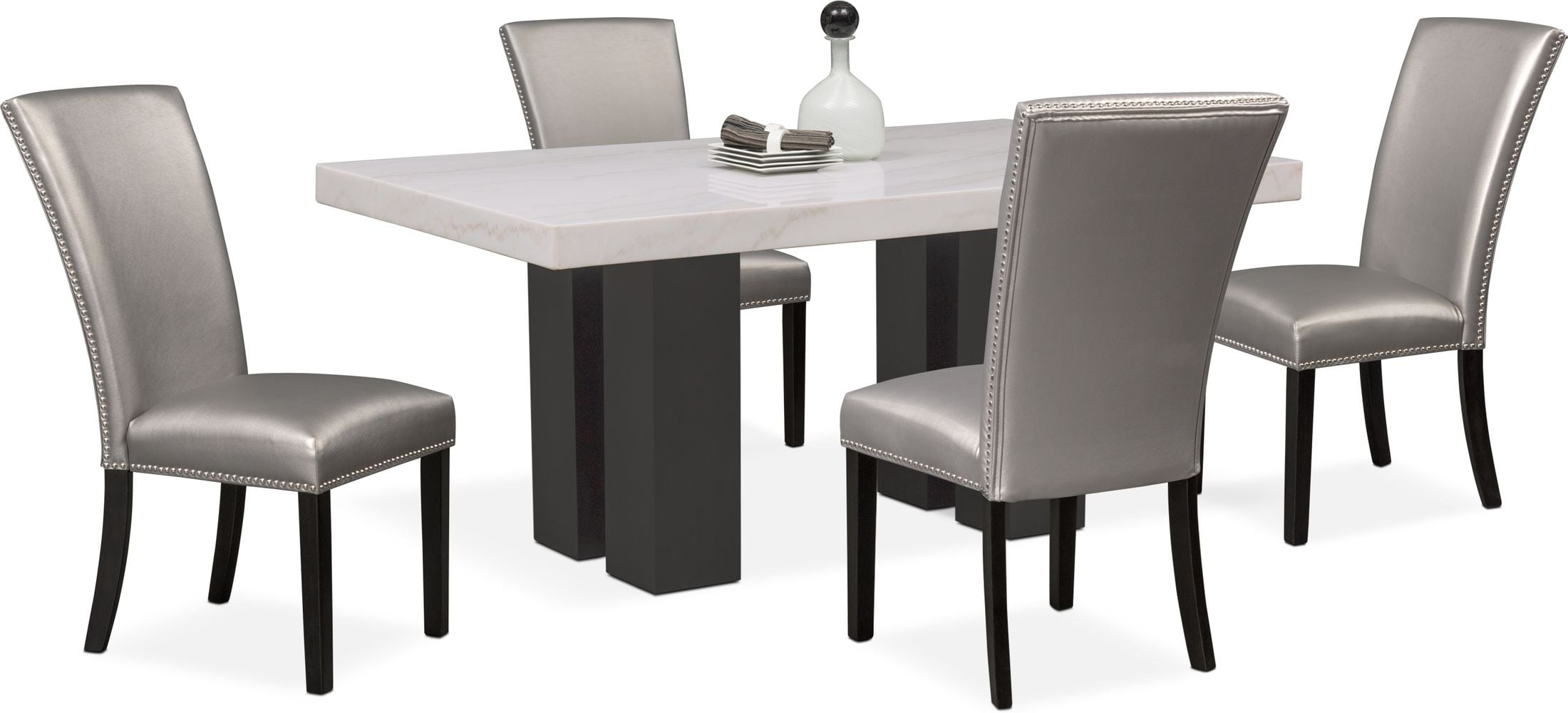 Dining Room Furniture - Artemis Marble Dining Table and 4 Upholstered Dining Chairs