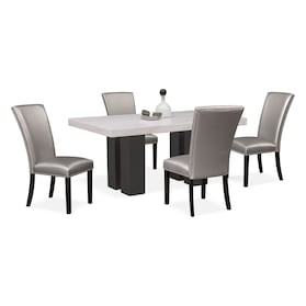 Artemis Marble Dining Table and 4 Upholstered Dining Chairs