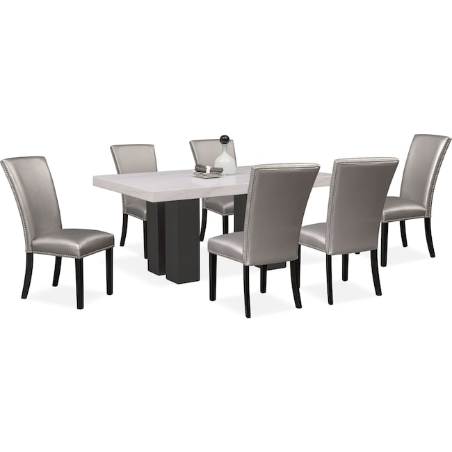 Dining Room Furniture - Artemis Marble Dining Table and 6 Upholstered Dining Chairs