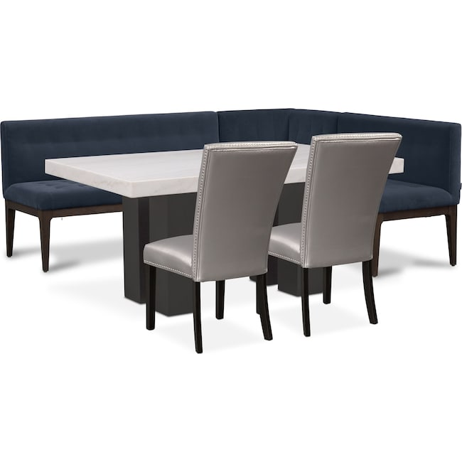 Dining Room Furniture - Artemis Marble Dining Table, Corner Banquette, and 2 Upholstered Dining Chairs