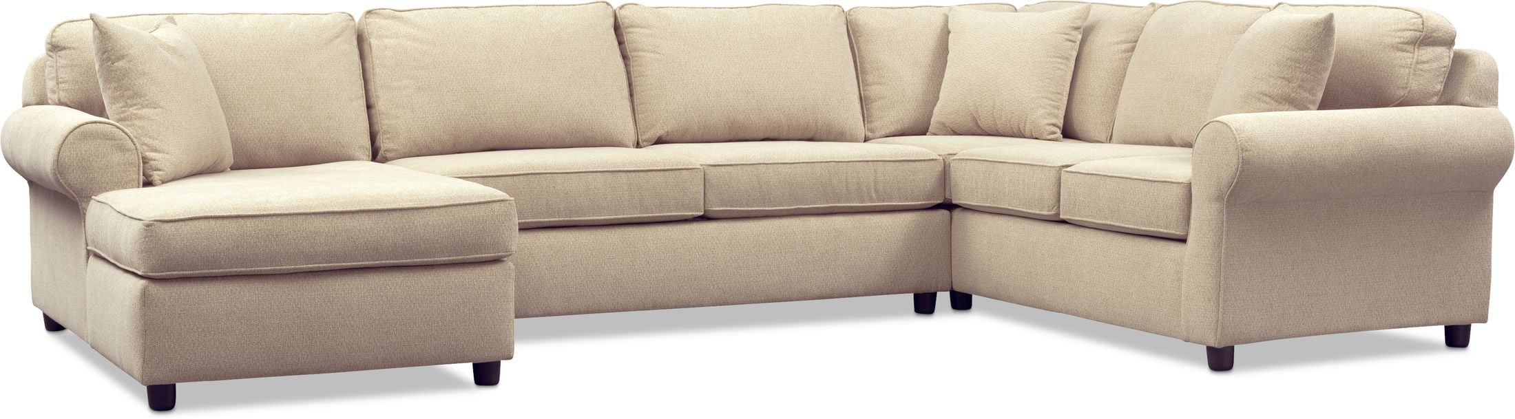 Living Room Furniture - Ashton 3-Piece Sectional with Chaise