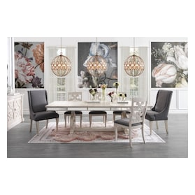 Athena Dining Table, 4 Dining Chairs and 2 Host Chairs