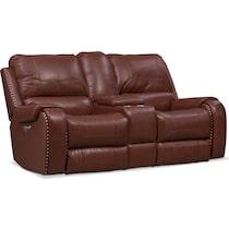 austin dark brown power reclining loveseat