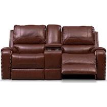 austin dark brown reclining loveseat