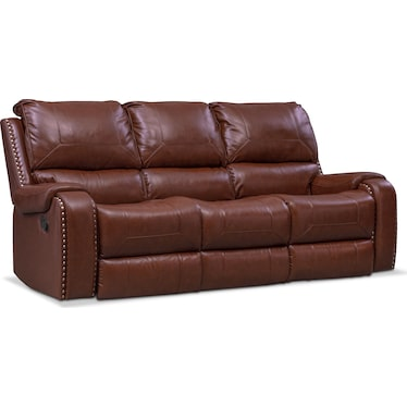 Austin Manual Reclining Sofa - Brown