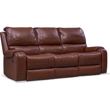 Austin Manual Reclining Sofa - Brown