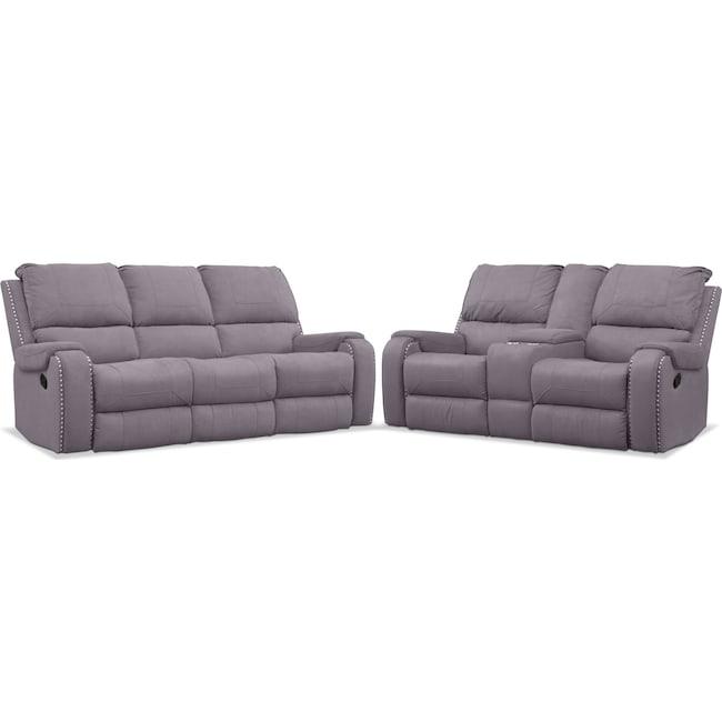 Living Room Furniture - Austin Manual Reclining Sofa and Loveseat Set