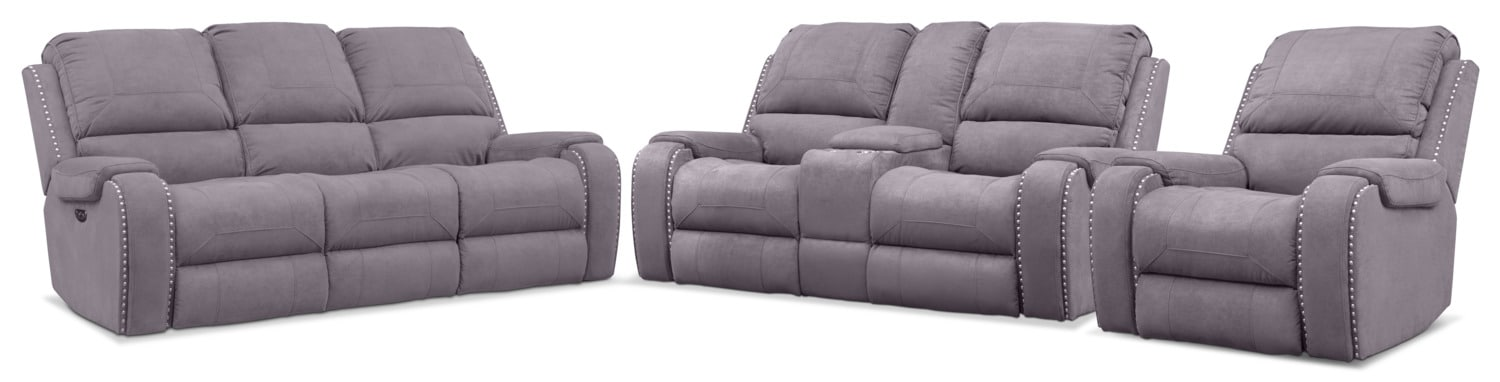 Living Room Furniture - Austin Dual-Power Reclining Sofa, Loveseat and Recliner