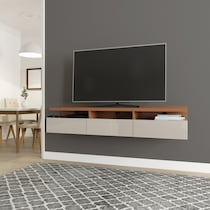 barlow maple off white entertainment wall unit