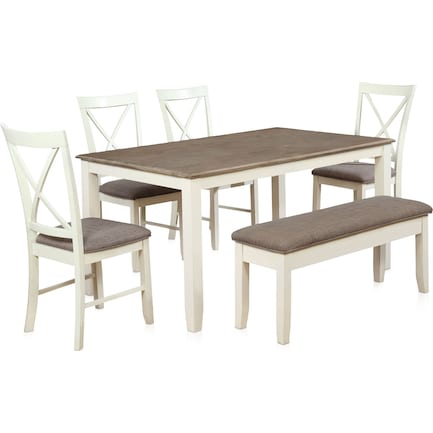 Bassett Dining Table, 4 Chairs and Bench