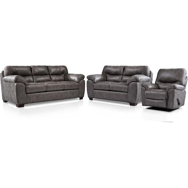 Living Room Furniture - Bennett Sofa, Loveseat and Recliner