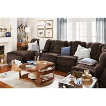 big softie dark brown power reclining sectional