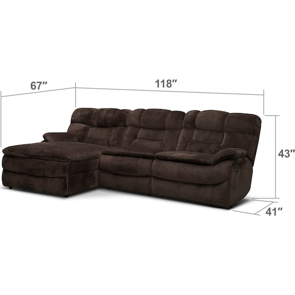 Living Room Furniture - Big Softie 3-Piece Power Reclining Sectional with Chaise