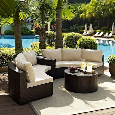 Huntington 3-Piece Outdoor Sectional and Coffee Table Set - Brown