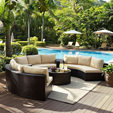 Huntington 5-Piece Outdoor Sectional and Coffee Table Set - Brown