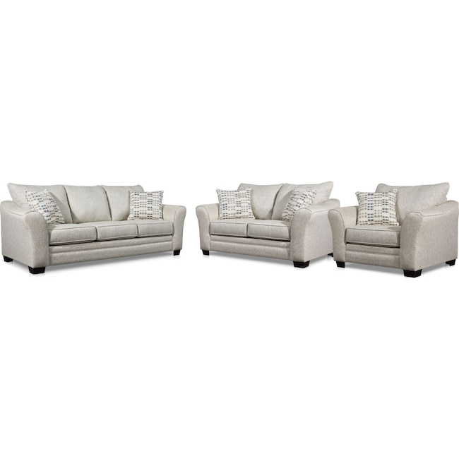 Living Room Furniture - Braden Sofa, Loveseat and Chair