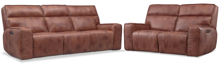 Living Room Furniture - Bradley Triple-Power Reclining Sofa and Loveseat Set