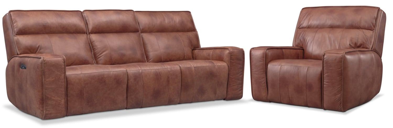 Living Room Furniture - Bradley Triple-Power Reclining Sofa and Recliner Set