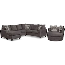 brando sectional smoke gray  pc living room