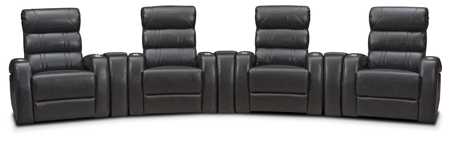 Living Room Furniture - Bravo 7-Piece Power Reclining Home Theater Sectional with 4 Reclining Seats
