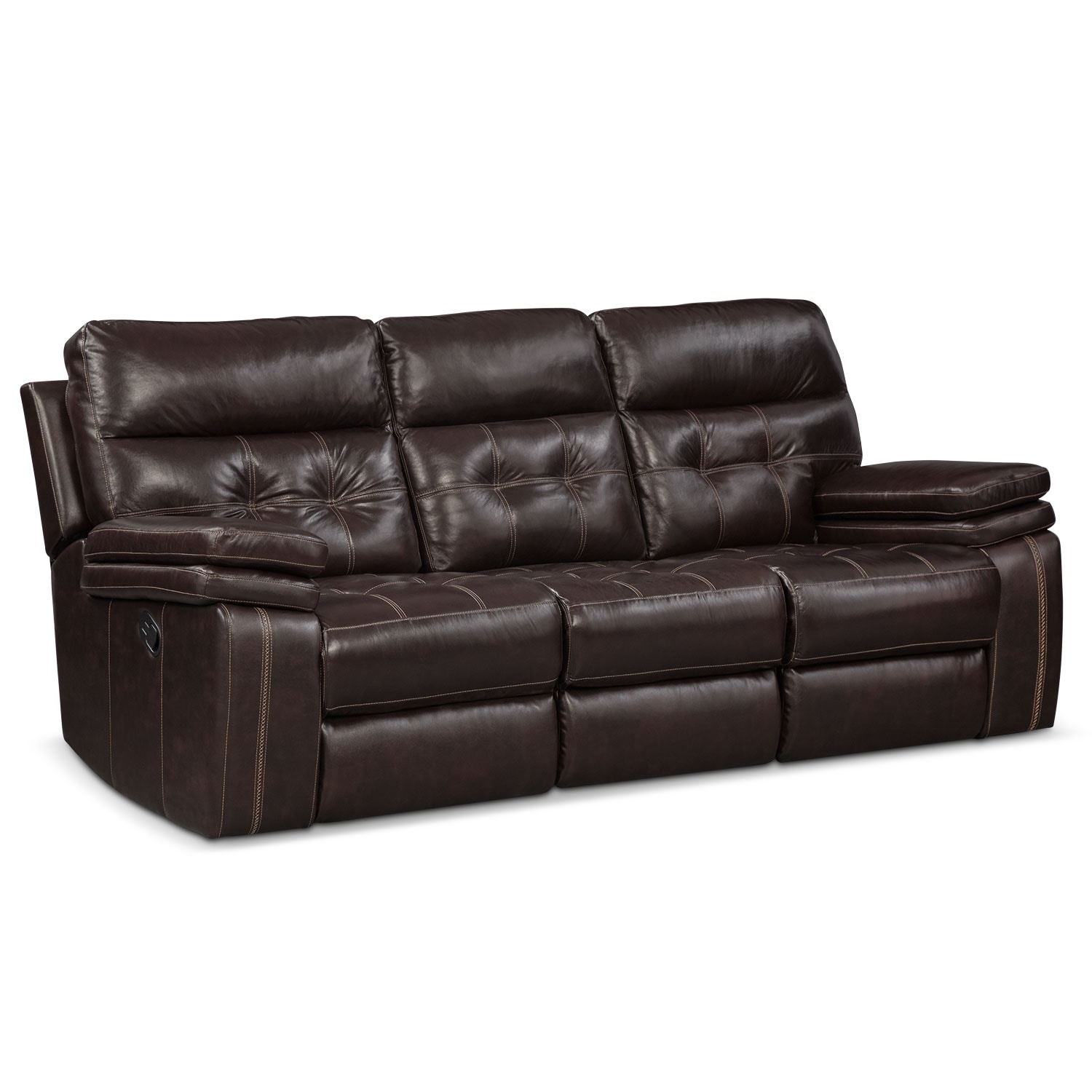 Living Room Furniture - Brisco Manual Reclining Sofa - Brown