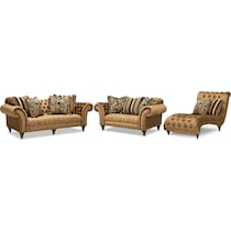 brittney bronze dark brown  pc living room w chaise