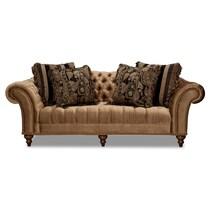 brittney bronze dark brown sofa