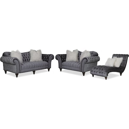 Brittney Sofa Loveseat And Chaise, Gray Living Room Furniture