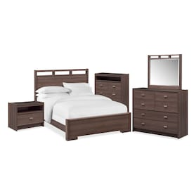 Britto 7-Piece Bedroom Set with Nightstand, Chest, Dresser and Mirror