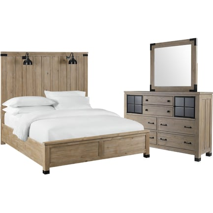 Brooke Harbor 5-Piece Queen Panel Bedroom Set with Dresser and Mirror - Natural