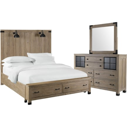 Brooke Harbor 5-Piece Queen Storage Bedroom Set with Dresser and Mirror - Natural
