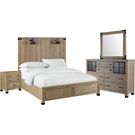Brooke Harbor 6-Piece Queen Panel Bedroom Set with Nightstand, Dresser and Mirror - Natural