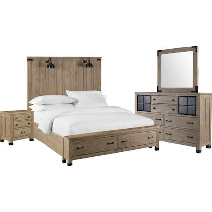 Brooke Harbor 6-Piece Queen Storage Bedroom Set with Nightstand, Dresser and Mirror - Natural