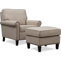 brooks light brown chair and ottoman