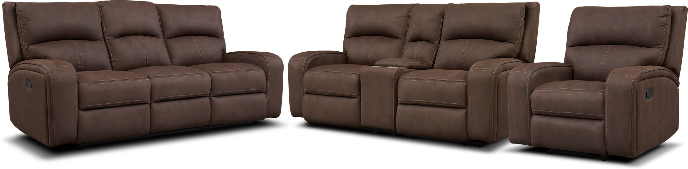 Living Room Furniture - Burke Manual Reclining Sofa, Loveseat with Console and Recliner