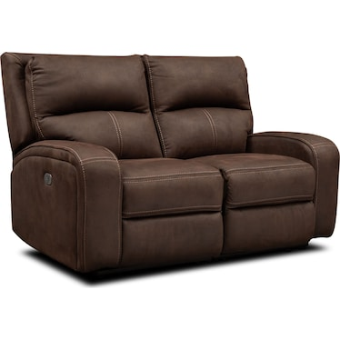 Burke Dual-Power Reclining Loveseat - Brown