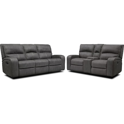 Burke Manual Reclining Sofa and Loveseat with Console - Charcoal