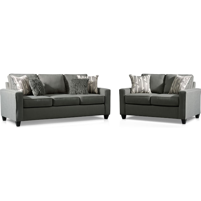 Living Room Furniture - Burton Queen Memory Foam Sleeper Sofa and Loveseat Set